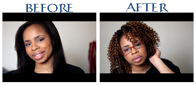 100% Grade AAAA African American hair on the left and Freetress Bebe wig on the right.