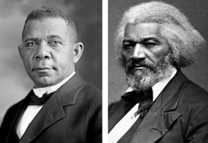 Booker T. Washington on the left and Frederick Douglass on the right. Both were products of slave rape.