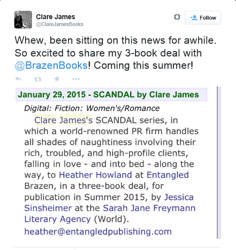 The author announced it on her twitter feed.