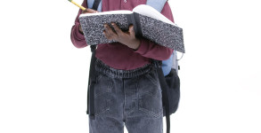 An african american student ready for school. Education, learning