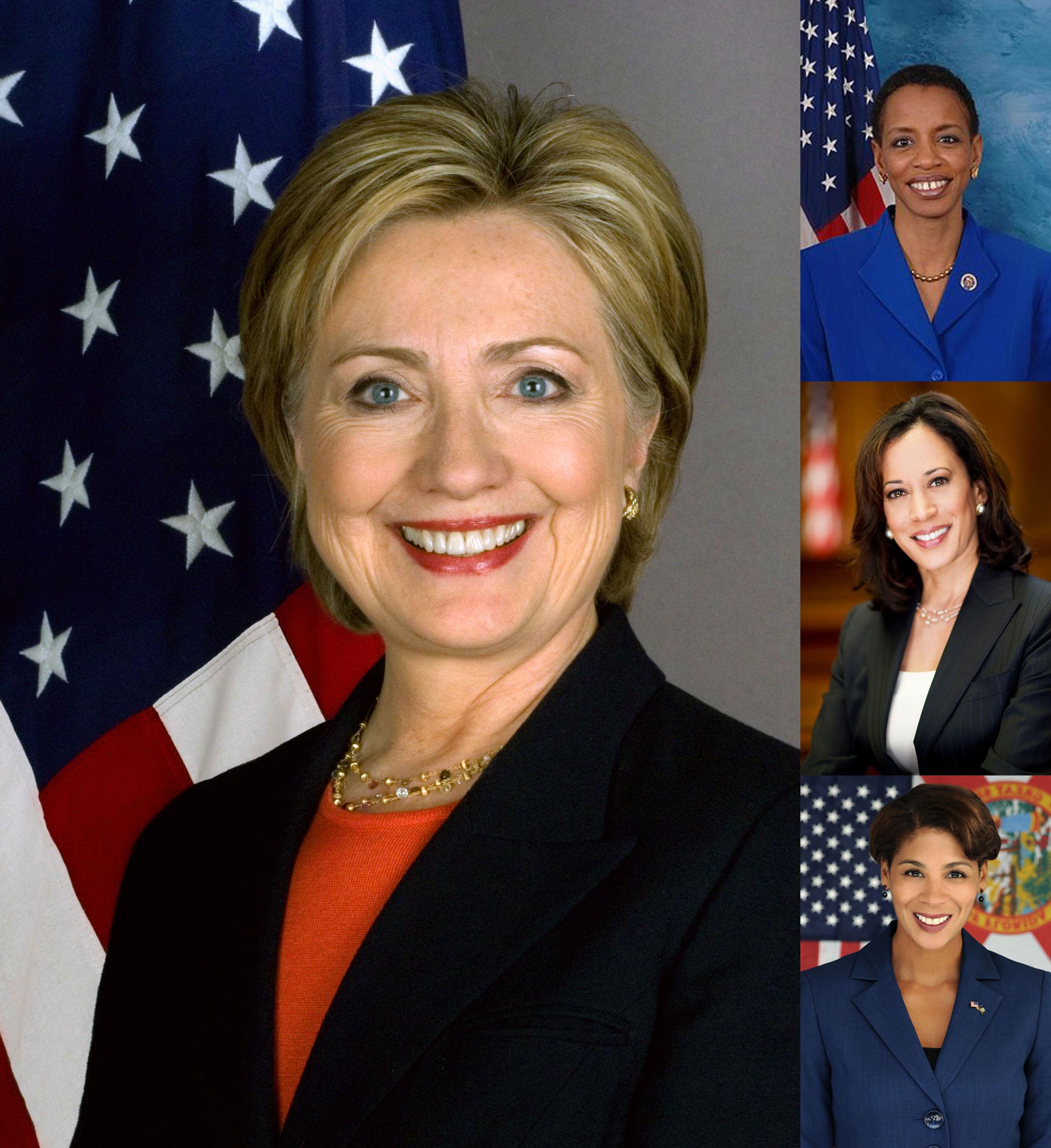 Hillary Clinton, Donna Edwards, Kamala Harris and Pam Keith